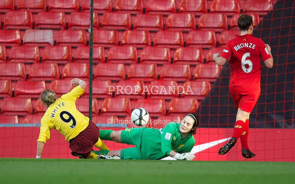 LIVERPOOL, ENGLAND - Friday, April 26, 2013: Liverpool's goalkeeper Sarah Quantill is beaten by Arsenal's Ellen White for the opening goal during the FA Women's Cup Semi-Final match at Anfield. (Pic by David Rawcliffe/Propaganda)