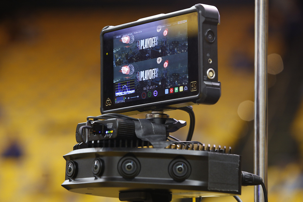 TNT's virtual reality camera at Game 2 of the NBA Western Conference semifinals between the Golden State Warriors and New Orleans Pelicans at Oracle Arena, Tuesday, May 1, 2018, in Oakland, Calif.
