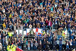 Leeds United fans celebrate at full time - Mandatory by-line: Ryan Crockett/JMP - 11/05/2019 - FOOTBALL - Pride Park Stadium - Derby, England - Derby County v Leeds United - Sky Bet Championship Play-off Semi Final 1st Leg