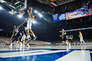 04 APR 2016: Guard Josh Hart (3) of Villanova University battles for a rebound with Forward Kennedy Meeks (3) of the University of North Carolina during the 2016 NCAA Men's Division I Basketball Final Four Championship game held at NRG Stadium in Houston, TX.Villanova defeated North Carolina 77-74 to win the national title. Brett Wilhelm/NCAA Photos