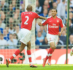 LONDON, ENGLAND - Saturday, April 18, 2009: Arsenal's Theo Walcott celebrates with team-mate Abou Diaby after Walcott's opening goal against Chelsea during the FA Cup Semi-Final match at Wembley. (Photo by: David Rawcliffe/Propaganda)