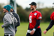 Philadelphia Eagles Nick Foles QB (9) during the press, training and media day for Philadephia Eagles at London Irish Training Ground, Hazelwood Centre, United Kingdom on 26 October 2018. Picture by Jason Brown.