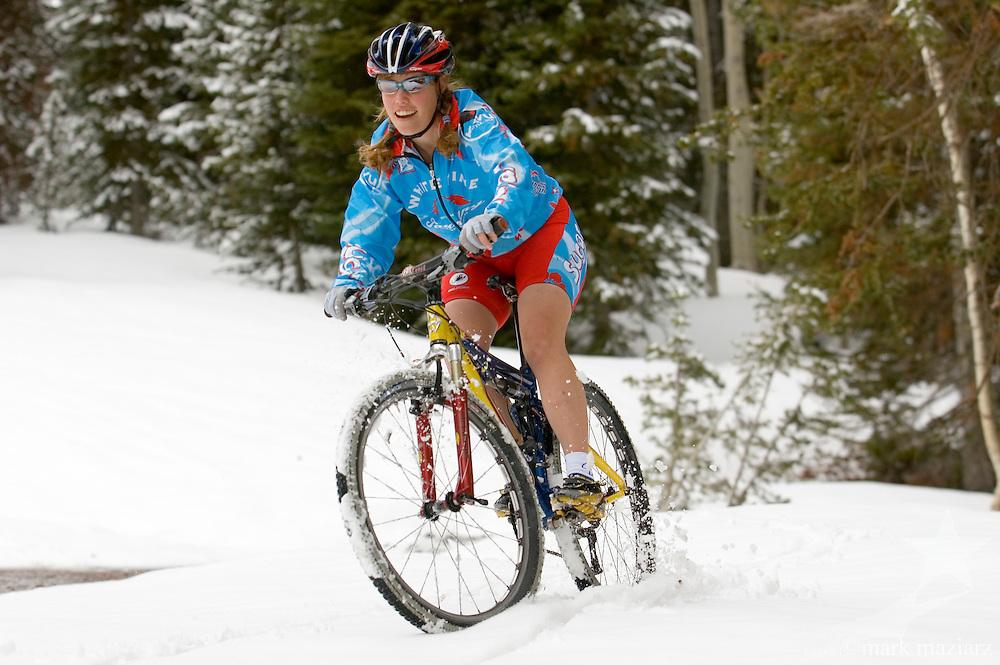 Christie riding in snow