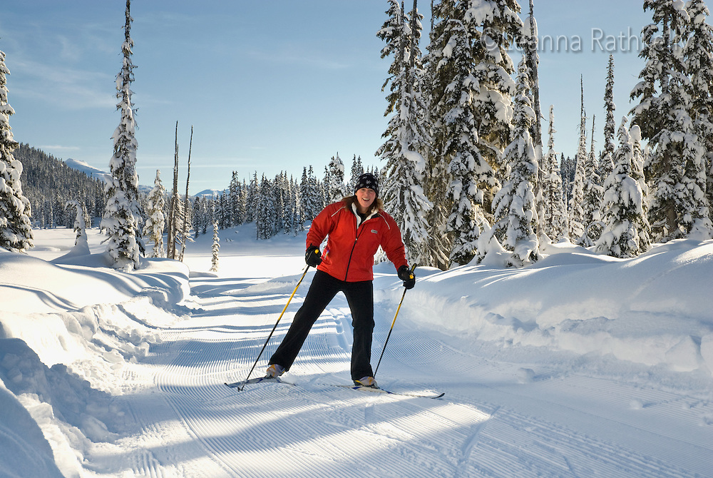 Marianne Cankovic skis the Ring Valley trail in the Callaghan. The Callaghan Country ski lodge is located 10 minutes south of Whistler, BC Canada, up the Callaghan Valley and next to the Whistler Olympic Park.