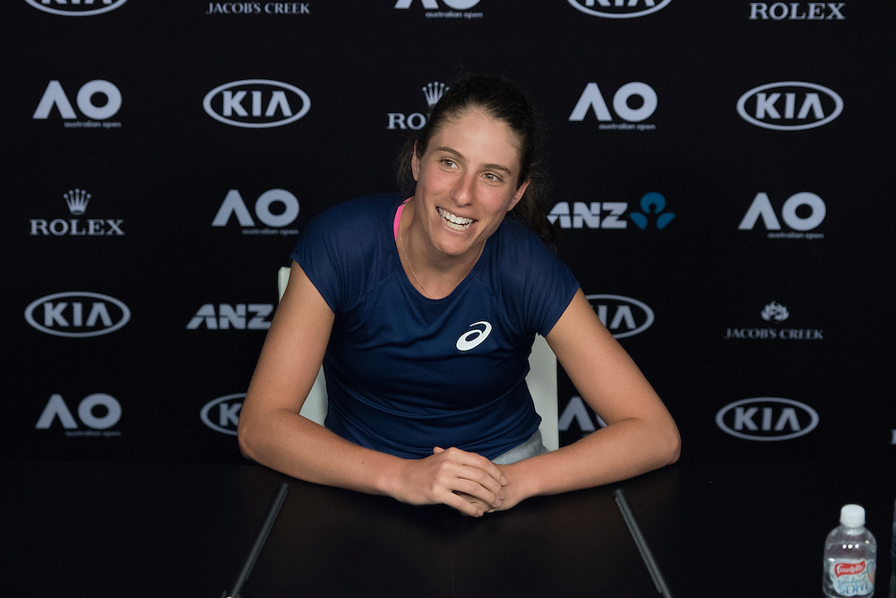 Johanna Konta of the United Kingdom during her pre-tournament press conference ahead of the 2017 Australian Open at Melbourne Park on January 15, 2017 in Melbourne, Australia.<br /> (Ben Solomon/Tennis Australia)