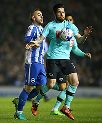 Jacob Butterfield of Derby County under pressure from Jiri Skalak of Brighton & Hove Albion - Mandatory by-line: Jason Brown/JMP - 10/03/2017 - FOOTBALL - Amex Stadium - Brighton, England - Brighton and Hove Albion v Derby County - Sky Bet Championship