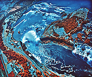 Infrared photograph of Niagara Falls taken from NASA Earth Survey 2 aircraft. NASA photograph.