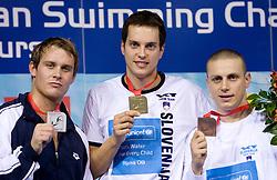 Aleksander Hetland, 2nd place (NOR),  Matjaz Markic, European Champion in 50m Men`s Breaststroke, and Emil Tahirovic, 3rd place (both SLO) at 3rd day of LEN European Short Course Swimming Championships Rijeka 2008, on December 13, 2008,  in Kantrida pool, Rijeka, Croatia
