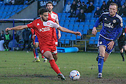 Noah Chesmain (Welling United) clears the ball during the Vanarama National League match between FC Halifax Town and Welling United at the Shay, Halifax, United Kingdom on 30 January 2016. Photo by Mark P Doherty.
