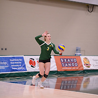 4th year outside hitter Leah Sywanyk (3) of the Regina Cougars in action during Women's Volleyball home game on February 3 at Centre for Kinesiology, Health and Sport. Credit: Arthur Ward/Arthur Images