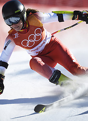 February 15, 2018 - Pyeongchang, South Korea - JELENA VUJICIC of Montenegro on her first run at the Womens Giant Slalom event Thursday, February 15, 2018 at the Yongpyang Alpine Centerl at the Pyeongchang Winter Olympic Games.  Photo by Mark Reis, ZUMA Press/The Gazette (Credit Image: © Mark Reis via ZUMA Wire)