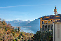 Looking out over the stunning view of Lago Maggiore from Madona del Sasso in Locarno, Switzerland.