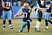 NASHVILLE, TN - DECEMBER 31:  Eric Decker #87 of the Tennessee Titans signals for a first down after catching a pass during a game against the Jacksonville Jaguars at Nissan Stadium on December 31, 2017 in Nashville, Tennessee.  The Titans defeated the Jaguars 15-10.  (Photo by Wesley Hitt/Getty Images) *** Local Caption *** Eric Decker
