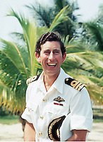 The Prince of Wales wearing summer Naval uniform in the Ivory Coast on his 30th Birthday in 1977.....