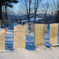 A cemetery in Peacham, Vermont in winter.