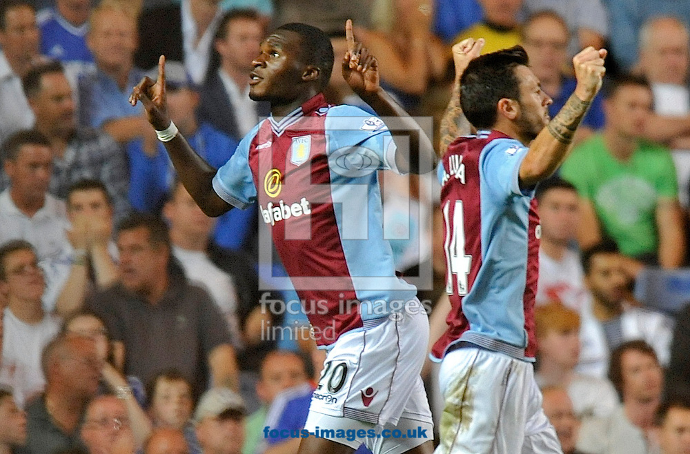 Picture by Alan Stanford/Focus Images Ltd +44 7915 056117<br /> 21/08/2013<br /> Christian Benteke of Aston Villa celebrates his goal during the Barclays Premier League match at Stamford Bridge, London.