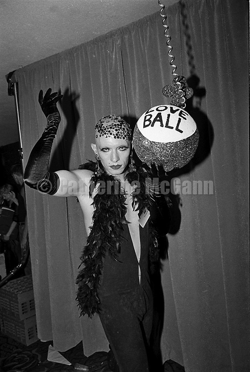 May 22, 1991:  A drag queen poses for a photo at the Love Ball on May 22, 1991 in New York City, New York.