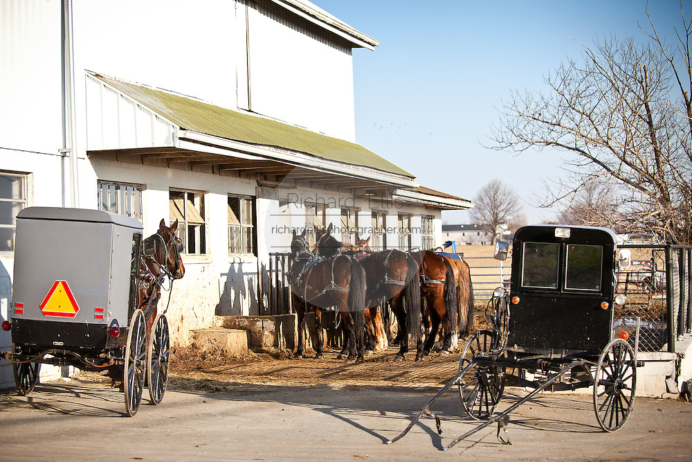 Amish horse buggy at a stable in Gordonville, PA.