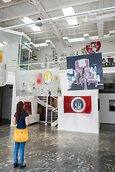 Mojo art gallery in warehouse in Alserkal Avenue arts district in Al Quoz in Dubai United Arab Emirates