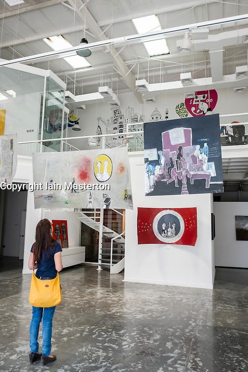 Mojo art gallery in warehouse in Alserkal Avenue arts district in Al Quoz in Dubai United Arab Emirates