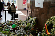 Flowers form the memorial to those passengers and travellers, killed in Brussels Zaventem airport, a year afterwards, on 26th March 2017, at Brussels Airport, Belgium. On the morning of March 22, 2016, three coordinated suicide bombings occurred in Belgium: two at Brussels Airport in Zaventem, and one at Maalbeek metro station in central Brussels. Thirty-two civilians and three perpetrators were killed, and more than 300 people were injured.
