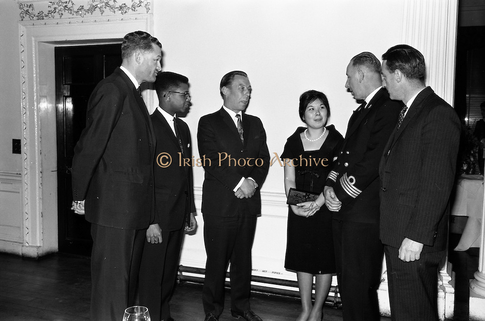 18/02/1963<br /> 02/18/1963<br /> 18 February 1963<br /> Caribbean Pioneer Line reception at the Shelbourne Hotel, Dublin. At the reception were (l-r): Mr G.W. Vimke, Joint Managing Director of H.V. Stoomboot -maatschappij Hillegersberg; Mr John Brown, Presidentt West Indian Students Assocciation; mr walsh, General Manager Coras Trachtala; Miss Joan Yee Wo, Social Secretary West Indian Students Association; Captain A.M.N. Van den Broeke and Mr R.A. Burke.