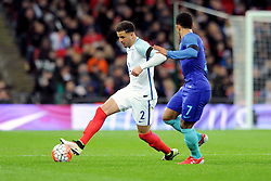 Kyle Walker of England battles for the ball with Memphis Depay of the Netherlands  - Mandatory by-line: Dougie Allward/JMP - 29/03/2016 - FOOTBALL - Wembley Stadium - London, United Kingdom - England v Netherlands - International Friendly