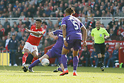 A shot by Middlesbrough forward Ashley Fletcher (18)  during the EFL Sky Bet Championship match between Middlesbrough and Stoke City at the Riverside Stadium, Middlesbrough, England on 19 April 2019.