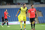 Oxford United's Aaron Martin and Brighton & Hove Albion's Sam Baldock during the Pre-Season Friendly match between Oxford United and Brighton and Hove Albion at the Kassam Stadium, Oxford, England on 26 July 2016.