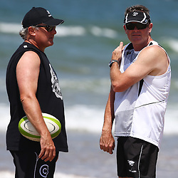 DURBAN, SOUTH AFRICA, December 10. 2015 - Gary Gold (Sharks Director of Rugby)  with Sean Everitt (Assistant Coach) of the Cell C Sharks during The Cell C Sharks Pre Season Beach South Beach training for the 2016 Super Rugby Season . (Photo by Steve Haag)<br /> images for social media must have consent from Steve Haag