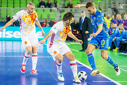 Alex of Spain and Serhiy Zhurba of Ukraine during futsal match between Ukraine and Spain in Quaterfinals of UEFA Futsal EURO 2018, on February 6, 2018 in Arena Stozice, Ljubljana, Slovenia. Photo by Ziga Zupan / Sportida