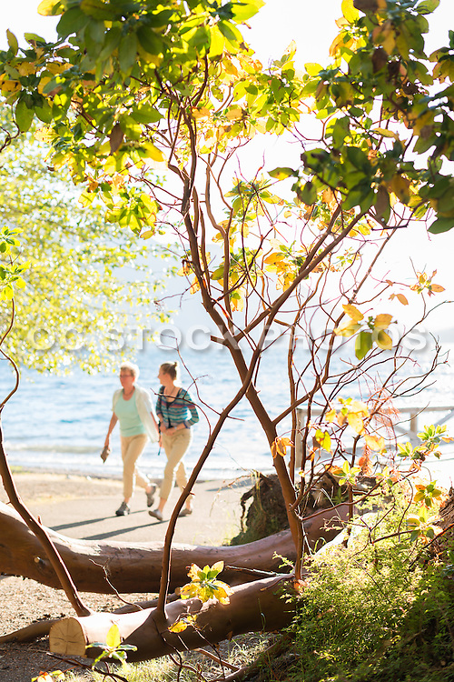 Two Ladies Walking on the Beach at Lake Crescent in Washington State