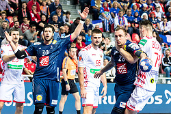 12.05.2017, Zatika Sport Centre, Porec, CRO, EHF EM, Herren, Frankreich vs Weissrussland, Gruppe B, im Bild v.l. Andrei Yurynok (BLR), Nicolas Tournat (FRA), Vadim Gayduchenko (BLR), Valentin Porte (FRA), Viachaslau Bokhan (BLR) // during the preliminary round, group B match of the EHF men's Handball European Championship between France and Belarus at the Zatika Sport Centre in Porec, Croatia on 2017/05/12. EXPA Pictures © 2018, PhotoCredit: EXPA/ Sebastian Pucher