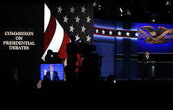HEMPSTEAD, Sept. 27, 2016 (Xinhua) -- Republican Donald Trump speaks during the first presidential debate with Democrat Hillary Clinton at Hofstra University in Hempstead of New York, the United States, Sept. 26, 2016. Donald Trump and Hillary Clinton on Monday held their first presidential debate in Hempstead. (Xinhua/Qin Lang) (zw) (Credit Image: © Qin Lang/Xinhua via ZUMA Wire)