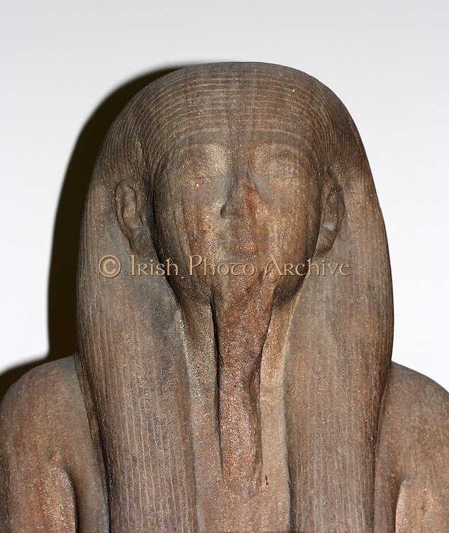 Detail from Statue of the Nile-God Hapy. 22nd Dynasty (approx. 900 BC) Egyptian from the Temple of Karnak in Thebes. Made of sandstone. The side of the statue shows Sheshonq, high priest of Amun.
