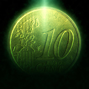 Digitally enhanced image of a 10 Euro Cents Nordic gold coin