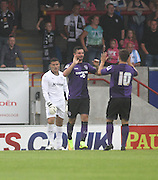 Padraig Amond is congratulated by Ryan Williams (10) after giving Morecambe an early lead - Morecambe v Dundee, pre-season friendly at the Globe Arena<br /> <br />  - &copy; David Young - www.davidyoungphoto.co.uk - email: davidyoungphoto@gmail.com