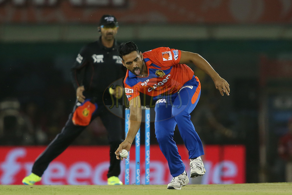 Pradeep Sangwan of Gujarat Lions fields the ball off his own bowling during match 3 of the Vivo Indian Premier League (IPL) 2016 between the Kings XI Punjab and the Gujarat Lions held at the IS Bindra Stadium, Mohali, India on the 11th April 2016<br /> <br /> Photo by Shaun Roy/ IPL/ SPORTZPICS