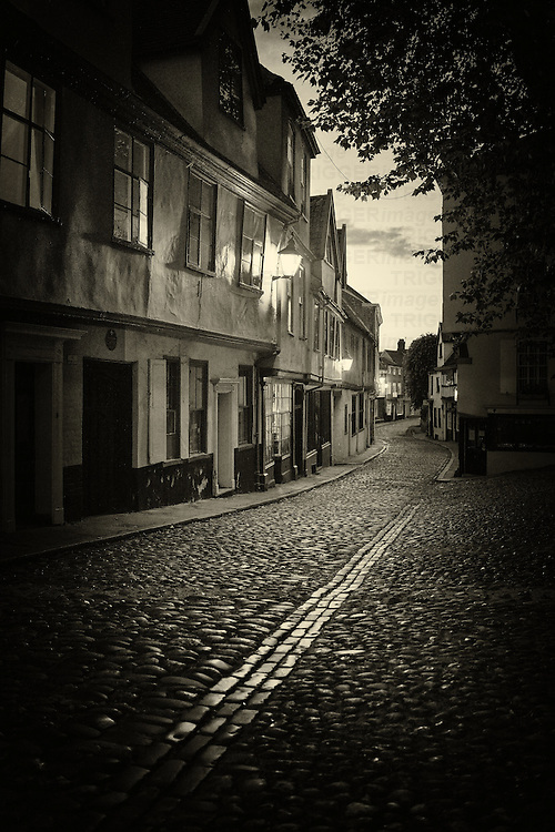The cobbled Elm Street, Norwich, Norfolk, England at night