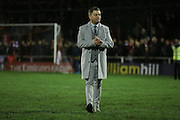 Whitehawk Manager Steve King after the The FA Cup 2nd Round Replay match between Whitehawk FC and Dagenham and Redbridge at the Enclosed Ground, Whitehawk, United Kingdom on 16 December 2015. Photo by Phil Duncan.
