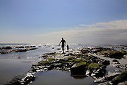 South Africa, Eastern Cape, Amatola Coast, Cinsta West, Buccaneers backpackers, Silhouette of adult and child exploring rock pools. <br /> Photo: &copy; Zute Lightfoot