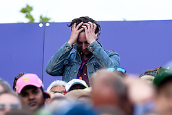 Former Maccabees guitarist Felix White shows his emotion during The Cricket World Cup Final between England and New Zealand - Mandatory by-line: Robbie Stephenson/JMP - 14/07/2019 - CRICKET - Lords - London, England - England v New Zealand - ICC Cricket World Cup 2019 - Final