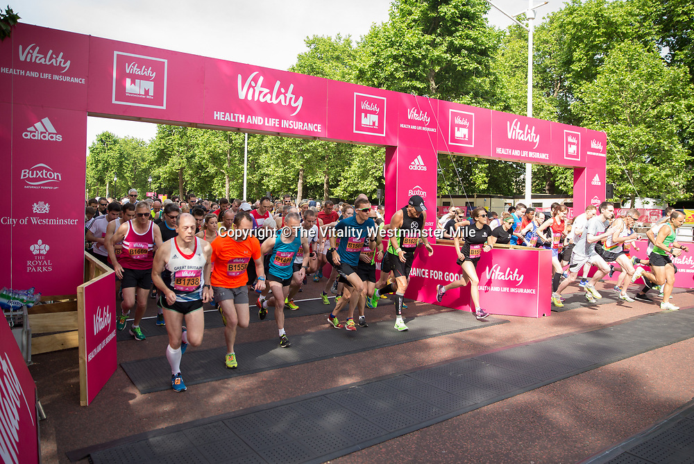 Mass start  the Vitality Wave for The Vitality Westminster Mile, Sunday 28th May 2017.<br /> <br /> Photo: Ben Queenborough for The Vitality Westminster Mile<br /> <br /> For further information: media@londonmarathonevents.co.uk