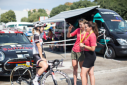 Leah Kirchmann (CAN) of Team Sunweb chats to journalists before La Course High Speed Pursuit 2017 - a 22.5 km pursuit road race on July 22, 2017, in Marseille, France. (Photo by Balint Hamvas/Velofocus.com)