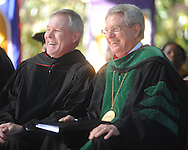 U.S. Navy Secretary Ray Mabus (left) and Chancellor Dan Jones at University of Mississippi graduation ceremonies in the Grove on campus on Saturday, May 8, 2010.