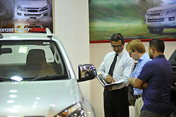 August 29, 2017 - Kathmandu, NP, Nepal - A staff of ISUZU company dealing with costumers at the 12th Annual Nepal's biggest NADA Auto at Bhikuti Mandap, Kathmandu, Nepal on Tuesday, August 29, 2017. (Credit Image: © Narayan Maharjan/NurPhoto via ZUMA Press)
