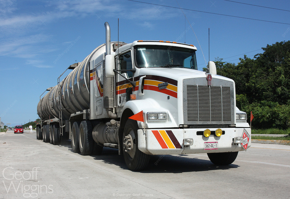 Mexican Kenwood semi bulk carrier truck on a country highway Mexico, Central America