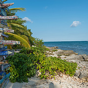 Distances sign at Ocean Frontier diving. Grand Cayman Island.