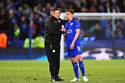 Leicester City manager Craig Shakespeare puts his arm round Leicester City midfielder Marc Albrighton (11) during the Champions League quarter final match 2 between Leicester City and Atletico Madrid at the King Power Stadium, Leicester, England on 18 April 2017. Photo by Jon Hobley.