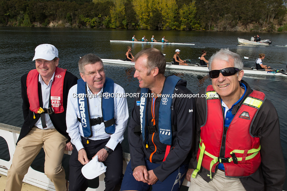 Mike Stanley (NZ IOC), IOC president Thomas Bach, Mahe Drysdale, and Barry Maister (NZ IOC member) on a barge at the Rowing NZ Media Day, Lake Karapiro, Cambridge, New Zealand, Wednesday 6 May 2015. Photo: Stephen Barker/Photosport.co.nz